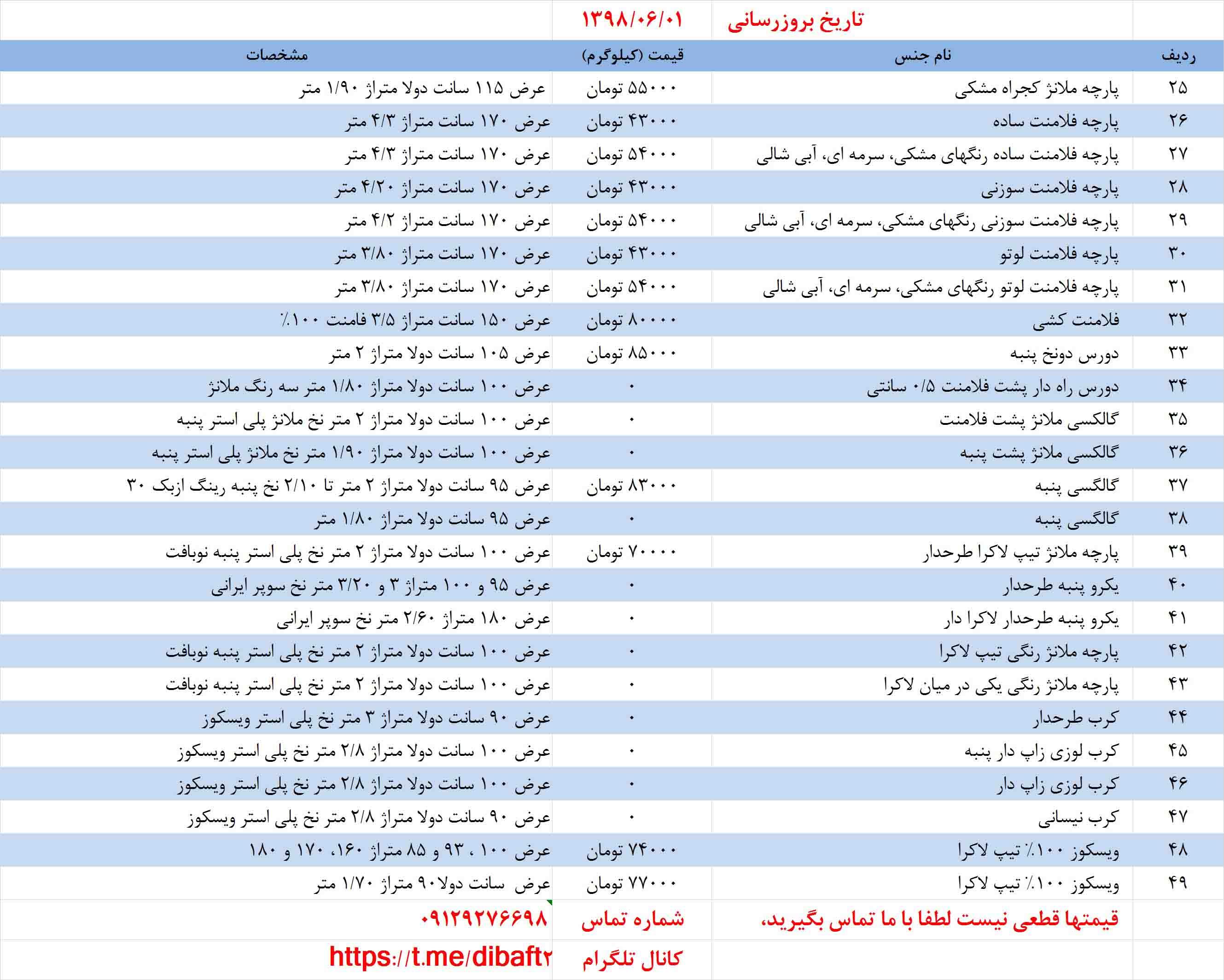 لیست قیمت انواع پارچه گردبافت
